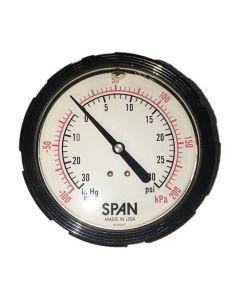SPAN TANKER TRAILER 3.5 IN. BACKPORT GAUGE, -30HG X 30 PSI